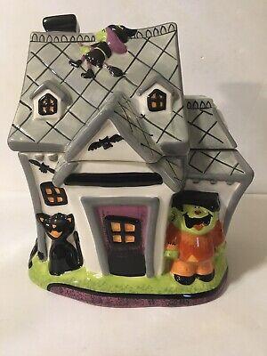 Halloween Haunted House Ceramic Cookie Jar: Black Cats Bat Witch Target 2008