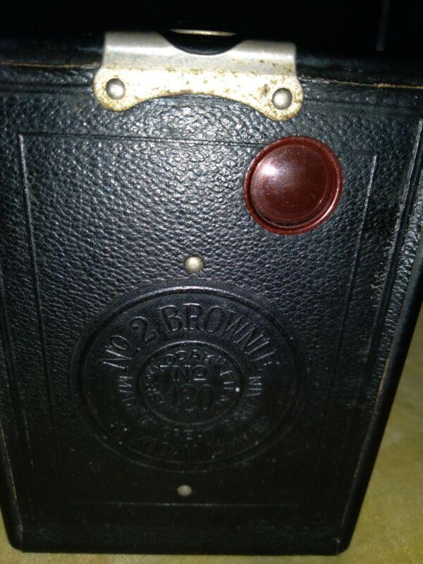Nice Vintage leather Kodak No. 2 Brownie Model F Box Camera~