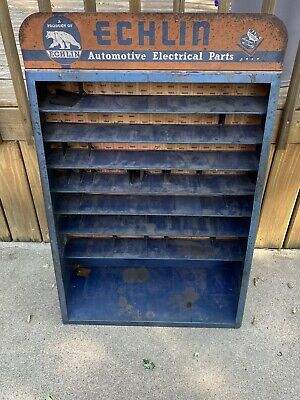 Vintage Echlin Metal Parts Cabinet Shelf Unit War Era Advertising Sign Gas Oil