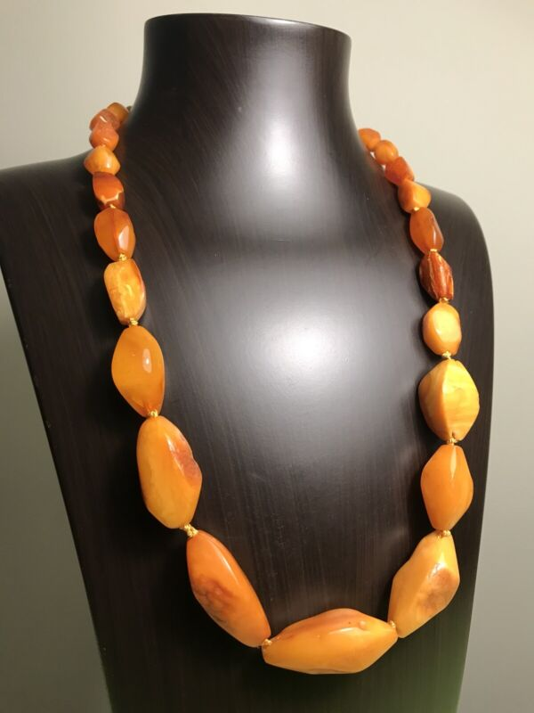 BEAUTIFUL OLD RUSSIAN BALTIC EGG YOLK BUTTERSCOTCH GENUINE AMBER NECKLACE 50g