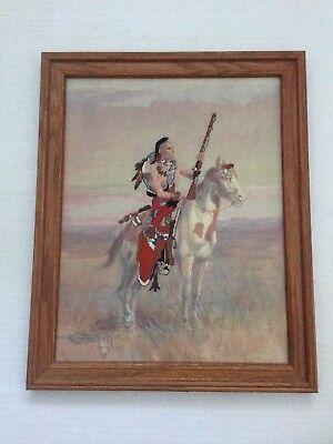 ART- Oak Wood  Framed Indian Horse Gun Desert Picture Needlepoint Art Craft, used for sale  Laguna Hills