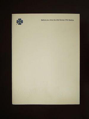 Alfa Romeo Berlina 1750 Brochure
