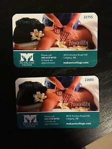 2 x Makami College Massage Gift Cards