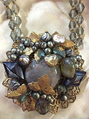 Antique Victorian Glass Pearl Gemstone Gold Leaf Cluster Pendant Necklace Choker
