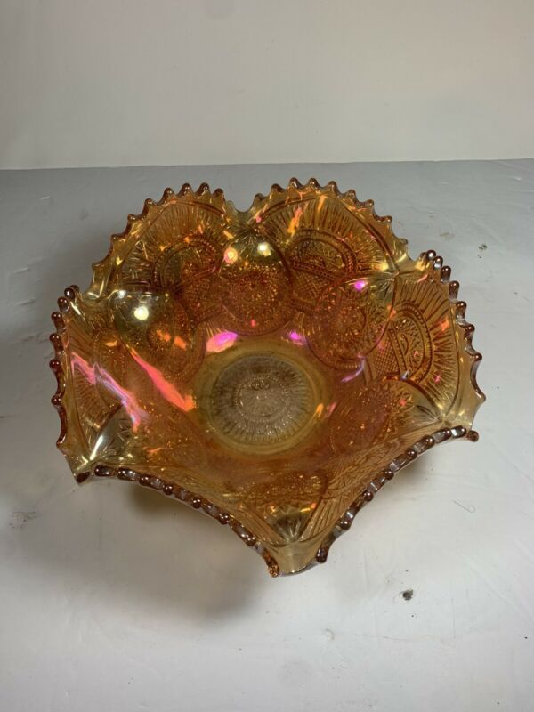 Vintage Imperial Marigold Carnival Glass Bowl Hobstar Twins Pattern