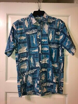 Mens Yamaha Sportswear Blue Casual Button Down Shirt Sz M Boats Fish for sale  Shipping to Canada