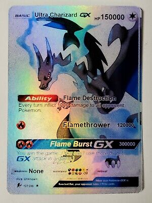 POKEMON: ULTRA CHARIZARD GX - FULL ART HOLO CUSTOM ORICA CARD NOT TCG READ DESCR