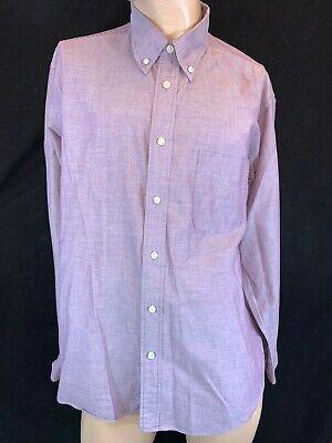 "VAN HEUSEN Men's Purple Button Cuff Long Sleeve Shirt. Size L, Chest 48"""