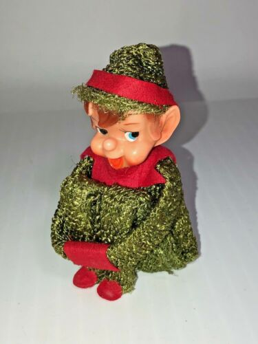 Vintage Knee Hugging Christmas Elf Pixie in Green Suit - Made in Japan with Tag