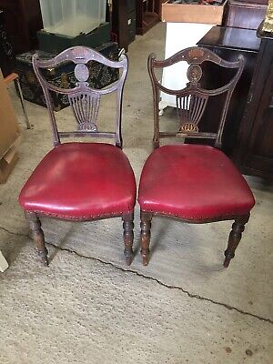 2 Antique Decorative Chairs Marquetry Detail   21/10/C