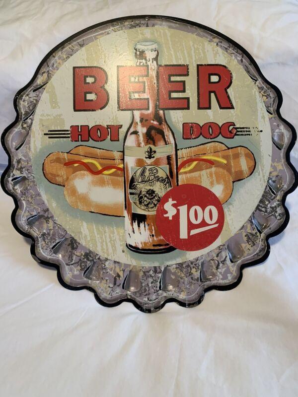 Vintage bottlecap- beer hotdogs 1$ metal sign