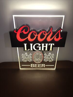 Vtg 1980s 80s Coors Light Up Beer Sign Man Cave Bar Advertising Retro Classic