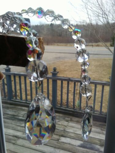 Vintage Hanging Faceted Crystal  Beads/Prisms on Rock Sun Catcher UNIQUE