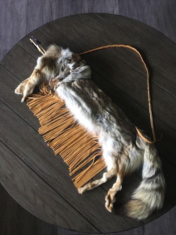 Native American Coyote Fur Pelt Quiver with Arrows-Navajo Tribe Art