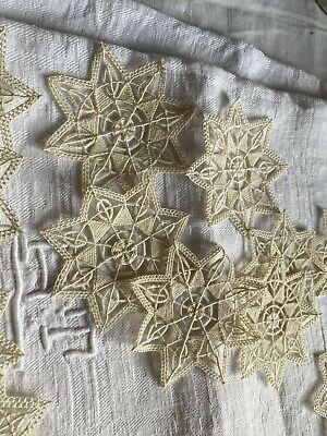 Antique Lace, Vintage Appliqués. Handmade Cotton Inserts, Vintage Wedding  / 2pc