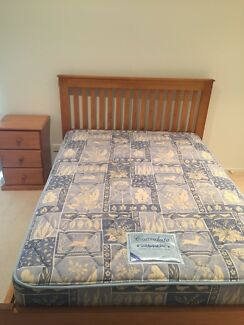 Double bed frame and mattress and bedside table - Excellent condition