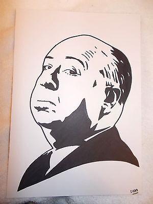 A4 Black Ink Marker Pen Sketch Movie Director Alfred Hitchcock A