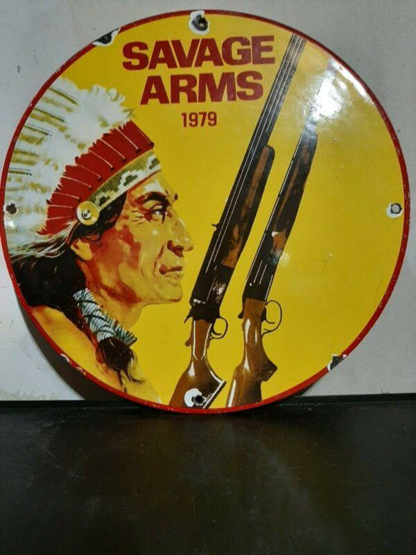"savage arms porcelain sign 12"""
