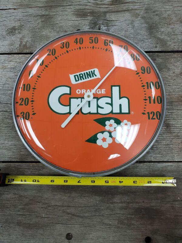 Vintage Orange Crush Soda Round Thermometer 12 inches Works