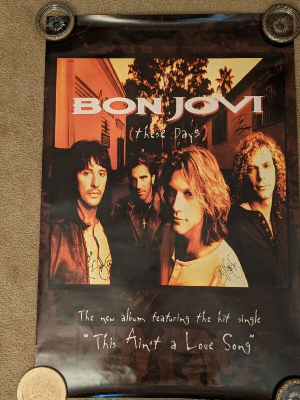 WOW!! AUTOGRAPHED BON JOVI DOUBLE-SIDED PROMO POSTER, 24X36. ALL 4 MEMBERS.