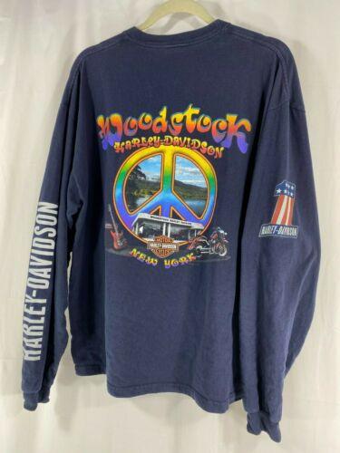 Harley Davidson Woodstock New York Long Sleeve Blue T Shirt Mens M