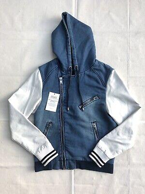 Men's Zara Zipped Jacket Denim Collection Faux Leather Sleeves - Size Medium