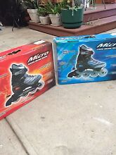 2x pairs of Adjustable Roller Blades, Blue size 5, Red size 8 Fawkner Moreland Area Preview
