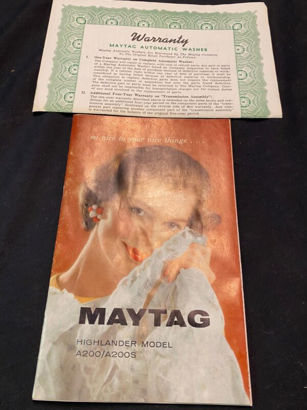 1963 Maytag Super Highlander Model A200/a200s Instruction Guide Manual and Warr