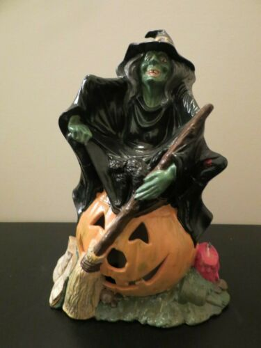 Halloween Witch Cat Grimoire Pumpkin Bell Book Candle Byron Mold Vintage Ceramic