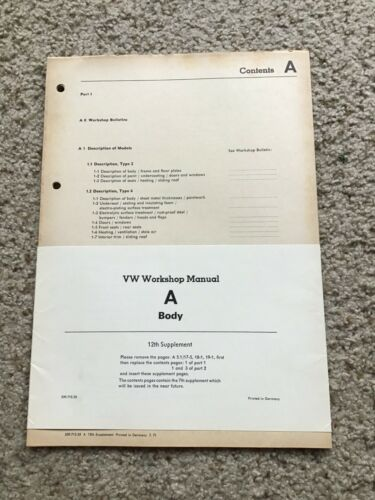 1971 VW workshop manual A-body NEW OLD STOCK incert.