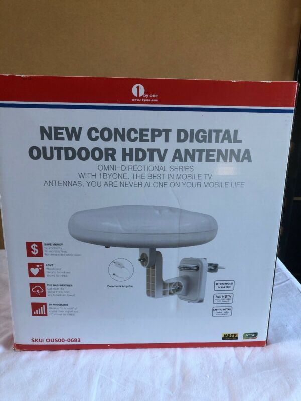 1byone Amplified Outdoor Antenna Omni-Directional 360 Degree Reception, 60 Miles
