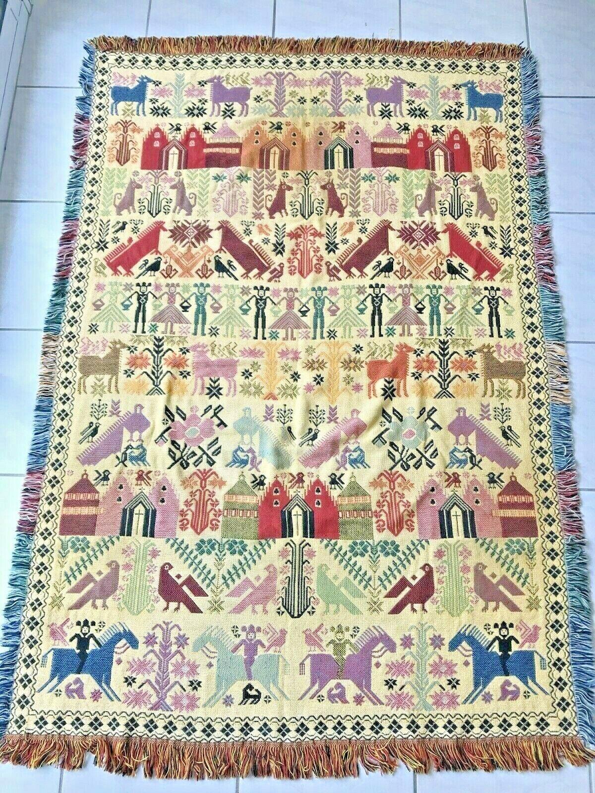 Jeté de canapé lit 100 % coton motif ethnique espagne  175x120 cm