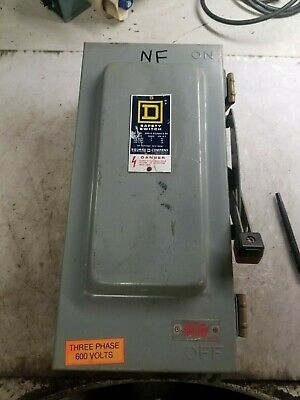 Square D 60 Amp Non-fused Safety Switch 600 Vac 60 Hp 3 Phase Type 3r Hu362awk