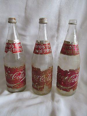 Lot-3 Vintage Coca Cola Glass Bottle Foil Label Twist Cap 70's Coke 28 Fl. Oz.