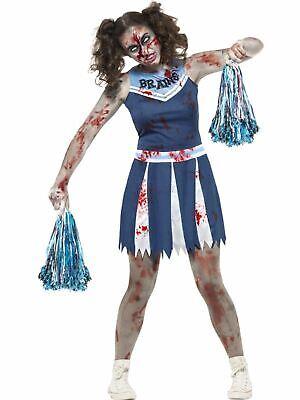 Teen Halloween Zombie Cheerleader Costume Kids Horror Fancy Dress Outfit - Cheerleader Halloween Costume Teen