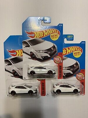 2017 Hot Wheels '16 Honda Civic Type R White Then and Now Lot of 3 327/365