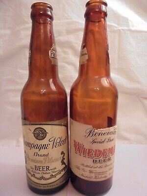 2 AMBER VINTAGE BEER BOTTLES CHAMPAGNE VELVET & WIEDEMANN LONG NECK BEER BOTTLES