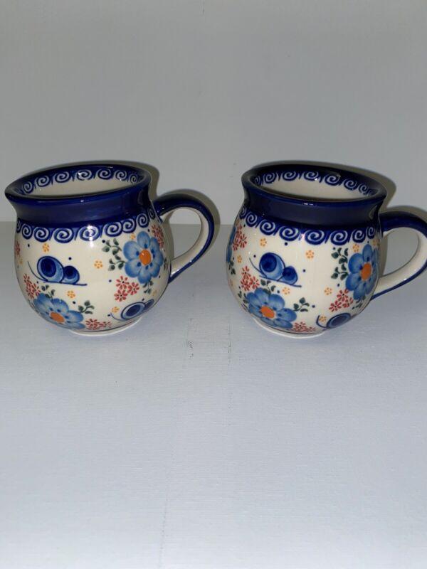 Unikat Polish Pottery Autumn Mugs (2) Ceramika Boleslawiecka Kalich.
