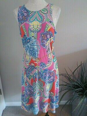 LAUREN RALPH LAUREN Women's Pink Sleeveless Dress with Chain Logo Belt NWT