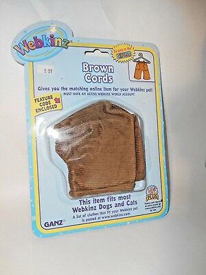 NEW WEBKINZ BROWN CORDS DOGS AND CATS CLOTHES GANZ