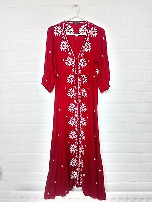 Free People Fable Dress Style Red Floral Midi Maxi/ New Without Tags/ S 8 10 12