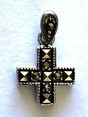 925 Sterling Silver Marcasite Holy Cross Religious Pendant