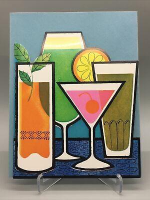 Vintage Cocktail Party Invitation 1960's Mid-Century Colorful Drinks Envelope