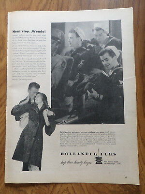 1945 Hollander Furs Ad  to all Soldiers Sailors Marines who have been away