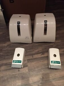 Paper towel and soap dispensers