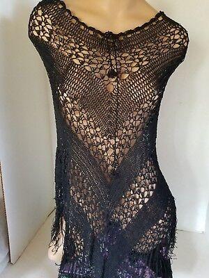 Black Crocheted Lace Poncho with Fringe Iridescent Beads Adjustable Neckline