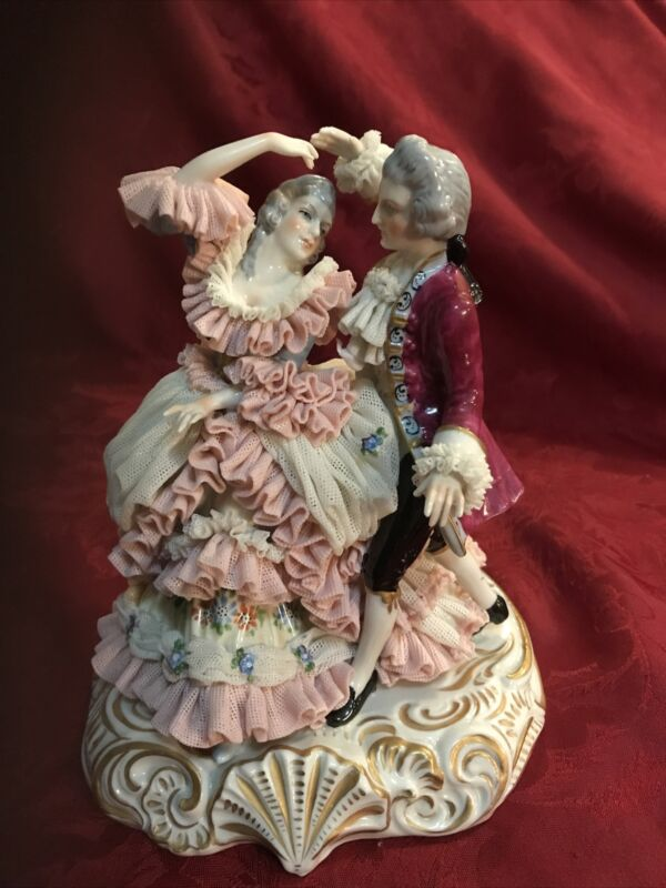 """Muller Volkstedt Dresden Lace Figurine Large Rare Dancing Couple 8"""""""