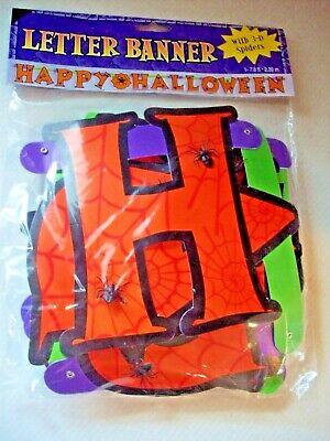 HALLOWEEN ~ Happy Halloween BANNER WITH PLASTIC SPIDERS 7.8 Feet Long NEW!
