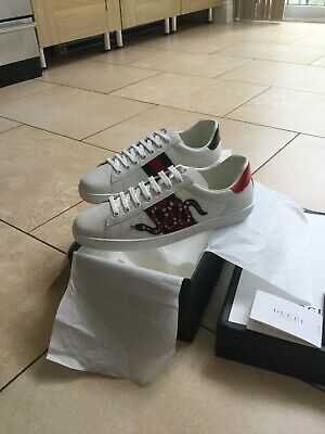 mens gucci Ace Embroidered Snake Leather Trainers Uk 11