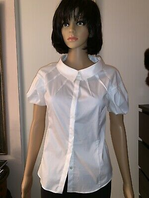 MALO Women Cotton Short Sleeves Button Down BLOUSE White  Size 38 / US-S or 2